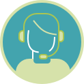 Icon of a patient's case manager with a headset on